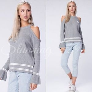🆕️GREY COLD SHOULDER BELL SLEEVE KNIT SWEATER